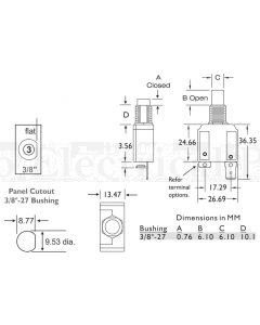 15A Circuit Breakers Panel Mount Series 14 Thread