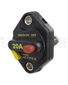 Bussmann 25550-B-1 Circuit Breaker Manual Reset w/ Threaded Mount. 50A 32VDC